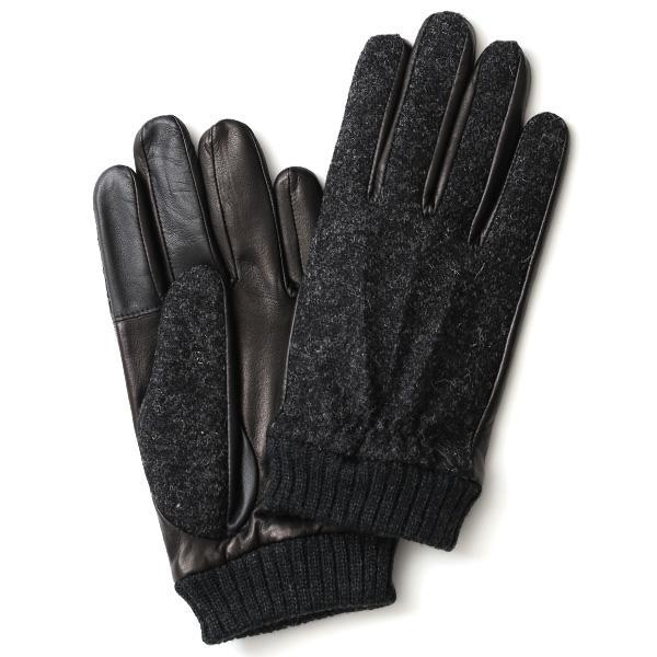 手袋 ハリスツイード メンズ タッチパネル スマホ対応 グレー グレイ 灰色 ねずみ色 カシミア リブ付き 革手袋 化粧箱|tokyo-himawari