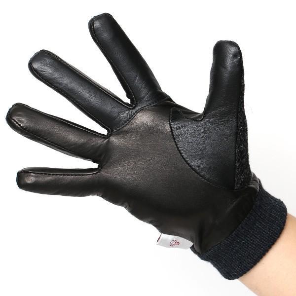 手袋 ハリスツイード メンズ タッチパネル スマホ対応 グレー グレイ 灰色 ねずみ色 カシミア リブ付き 革手袋 化粧箱|tokyo-himawari|02
