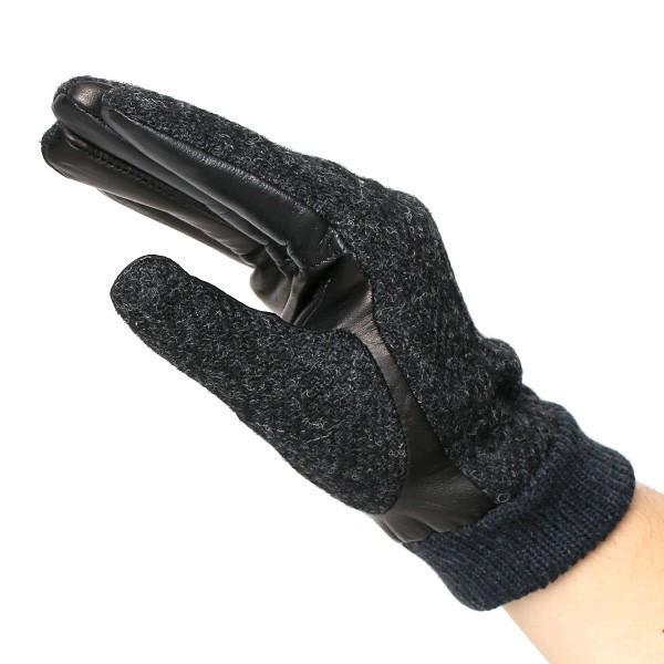 手袋 ハリスツイード メンズ タッチパネル スマホ対応 グレー グレイ 灰色 ねずみ色 カシミア リブ付き 革手袋 化粧箱|tokyo-himawari|03
