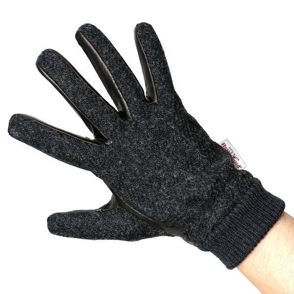 手袋 ハリスツイード メンズ タッチパネル スマホ対応 グレー グレイ 灰色 ねずみ色 カシミア リブ付き 革手袋 化粧箱|tokyo-himawari|04