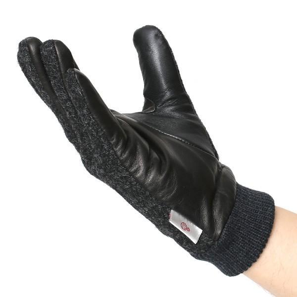 手袋 ハリスツイード メンズ タッチパネル スマホ対応 グレー グレイ 灰色 ねずみ色 カシミア リブ付き 革手袋 化粧箱|tokyo-himawari|05