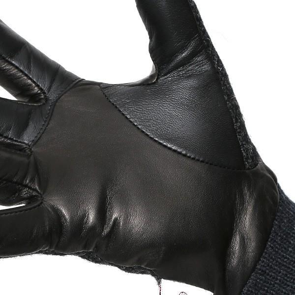 手袋 ハリスツイード メンズ タッチパネル スマホ対応 グレー グレイ 灰色 ねずみ色 カシミア リブ付き 革手袋 化粧箱|tokyo-himawari|06