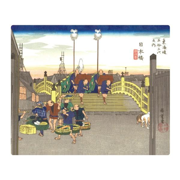 日本のおみやげ 日本のお土産で喜ばれるもの 和柄 文具 外国人へのプレゼント マウスパッド/日本橋 (木版画原色版)