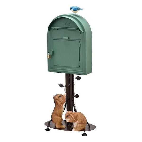 スタンドポスト ポスト メールボックス オシャレポスト 郵便 アンティーク 南京錠付き 玄関 かわいい グリーン色 垂れ耳ウサギ 送料無料