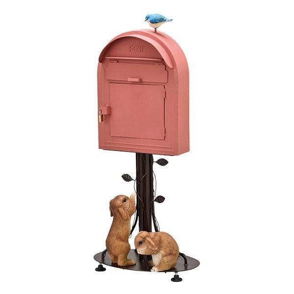 スタンドポスト ポスト メールボックス オシャレポスト 郵便 アンティーク 南京錠付き 玄関 かわいい レッド色 垂れ耳ウサギ 送料無料
