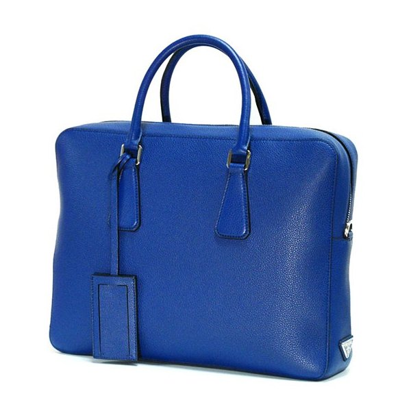 PRADA プラダ ブリーフケース VS363T VITELLO GRAIN BLUETTE|tokyoimport