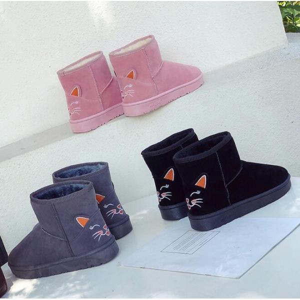 レディース ムートンブーツ モコモコ ショート丈 スマート すっきり 歩きやすい フェイクファー カジュアル あったかい  冬靴