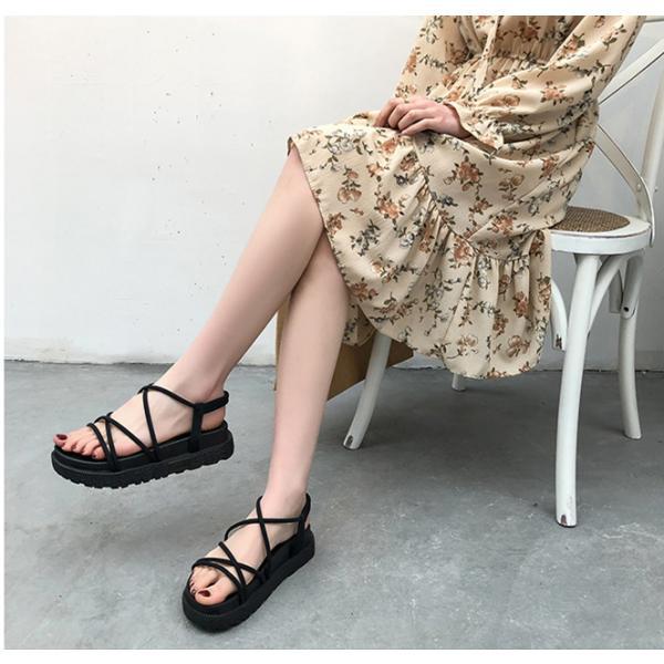 サンダル ウェッジソール レディース 厚底 ゴム シューズ 歩きやすい 疲れない  美脚  夏 3色 ローマ靴|tokyoplenza012|02