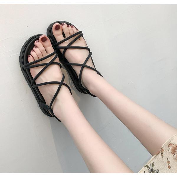 サンダル ウェッジソール レディース 厚底 ゴム シューズ 歩きやすい 疲れない  美脚  夏 3色 ローマ靴|tokyoplenza012|03