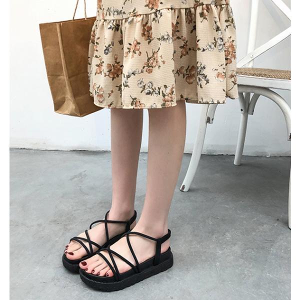 サンダル ウェッジソール レディース 厚底 ゴム シューズ 歩きやすい 疲れない  美脚  夏 3色 ローマ靴|tokyoplenza012|04