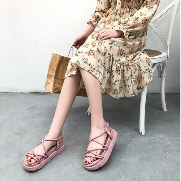 サンダル ウェッジソール レディース 厚底 ゴム シューズ 歩きやすい 疲れない  美脚  夏 3色 ローマ靴|tokyoplenza012|05