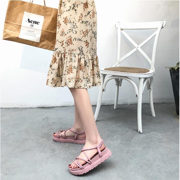 サンダル ウェッジソール レディース 厚底 ゴム シューズ 歩きやすい 疲れない  美脚  夏 3色 ローマ靴|tokyoplenza012|06