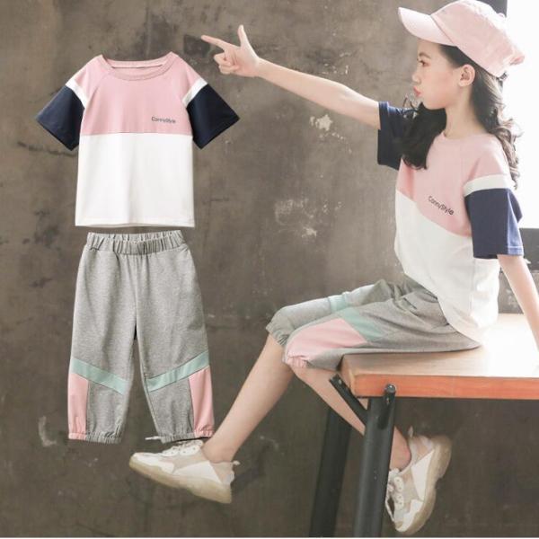 子供ジャージ上下セットおしゃれセットアップキッズスウェット半袖Tシャツ五分丈パンツ夏服トレーニングウェア運動着