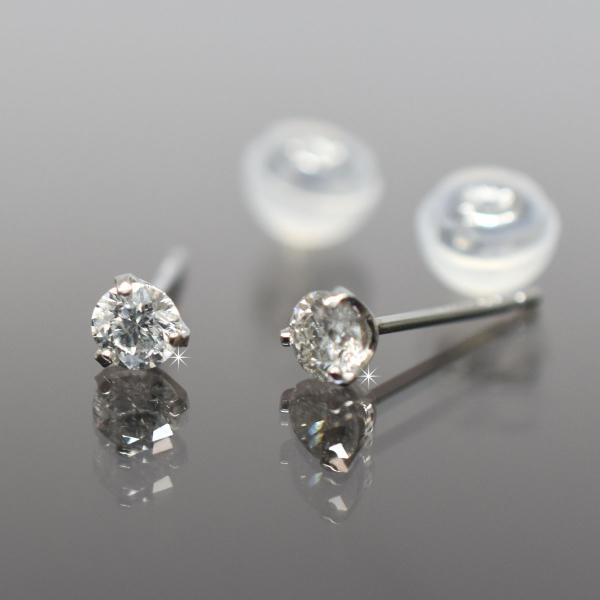 Pt900 プラチナ900 シンプル3本爪タイプ ダイヤモンド 一粒 ピアス 直径3.0mm ダイヤ 0.2ct