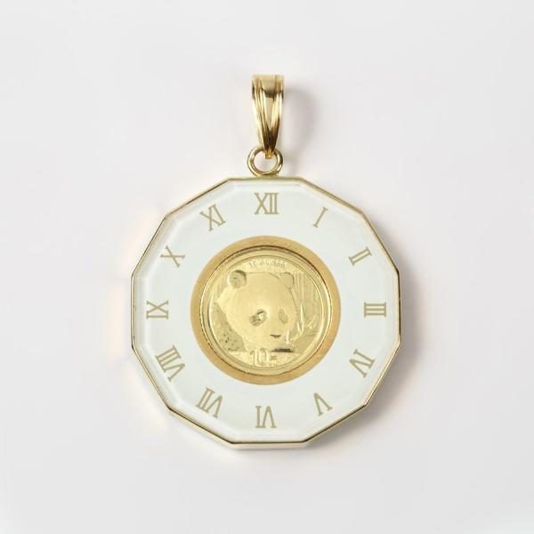 パンダコイン金貨  K24(純金) 1g 10元 パンダコイン 顔大2018年デザイン  K18枠付きペンダントトップ