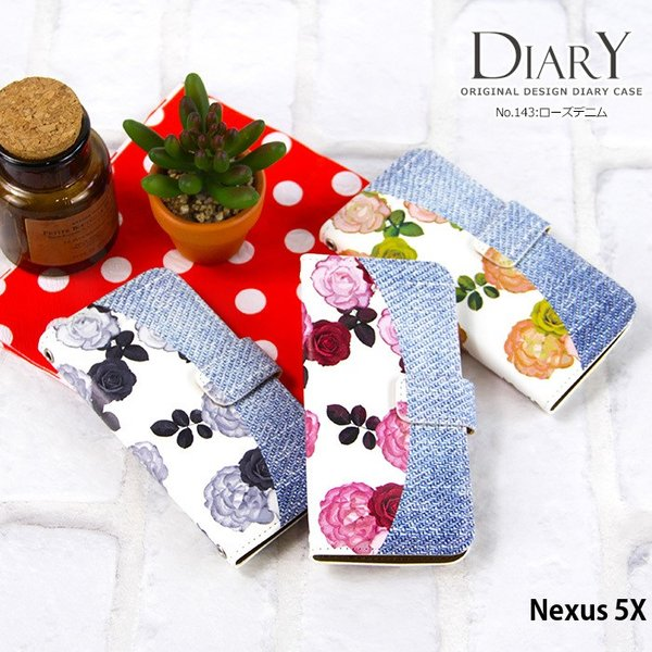 Nexus5X ケース 手帳型 スマホケース ネクサス Ymobile ワイモバイル nexus5x デザイン ローズデニム