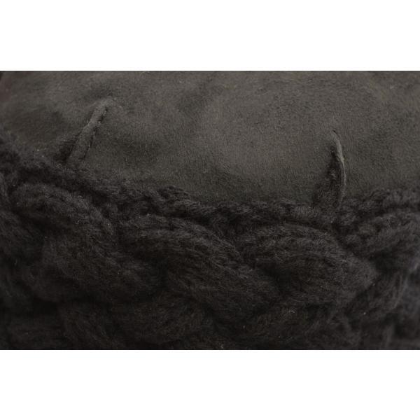 Grevi グレヴィ レディース ハット シープスキン ムートン ニットコンビ セーラー ハット(つば約6〜9cm 約57〜59