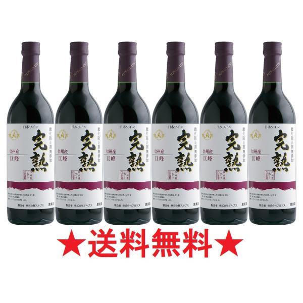 【2021年度産 新酒 10月9日入荷予定】【送料無料】アルプスワイン 完熟 巨峰 赤 720mlx6本【酸化防止剤無添加】