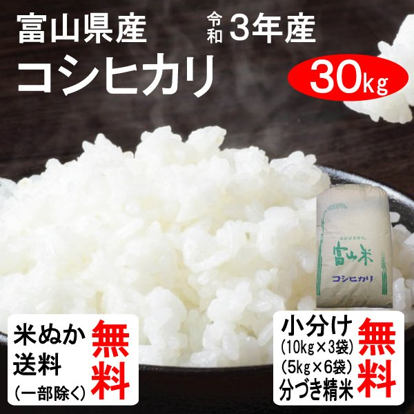 米 30kg 送料無料 富山県中新川郡立山町 コシヒカリ 1等玄米 クーポンで500円引き