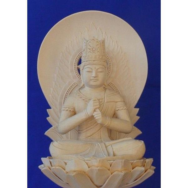 木彫仏像 大日如来座像円光背六角台2.0寸桧木   ひのき 木彫り |tomoe3|02