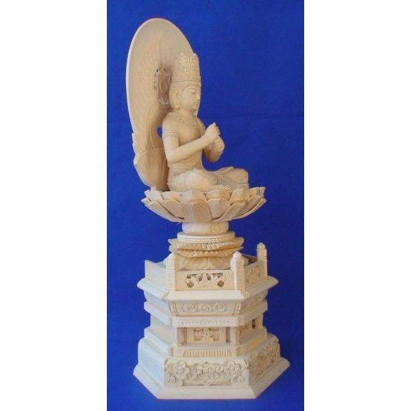 木彫仏像 大日如来座像円光背六角台2.0寸桧木   ひのき 木彫り |tomoe3|03