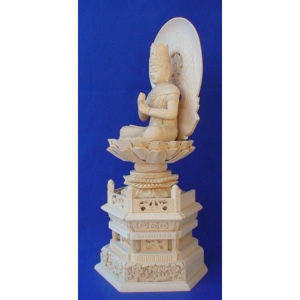 木彫仏像 大日如来座像円光背六角台2.0寸桧木   ひのき 木彫り |tomoe3|04