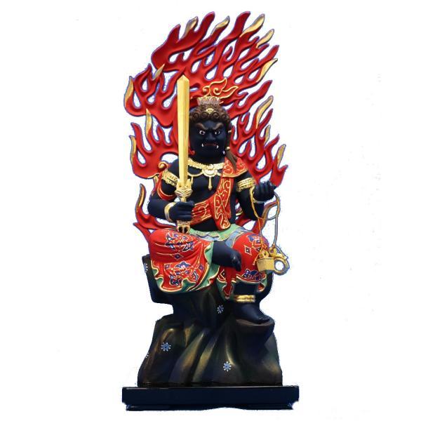 木彫仏像/座不動明王半跏像火焔光背3.5寸淡彩色