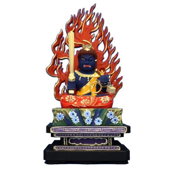 木彫仏像/座不動明王(青)四角台火焔光背3.5寸桧木彩色