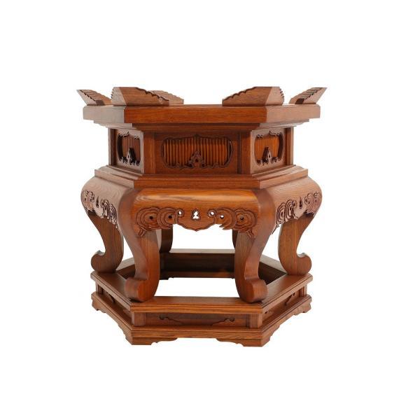 木製仏具/六角磬子(けいす)台タモ材1.5尺スリ漆(座布団付)寺院用 各宗派(受注生産)