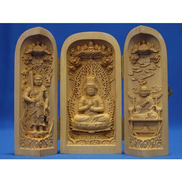 木彫仏像 真言宗大日三尊 三開仏 水ツゲ 木彫 ご本尊 仏龕 仏壇 仏箱(受注生産)