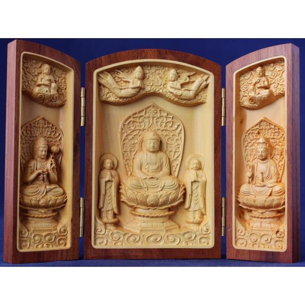 木彫仏像/阿弥陀三尊(三開仏)高さ10cm水ツゲ 幸福を祈るご本尊 仏龕 仏像 枕本尊 縁起物|tomoe3