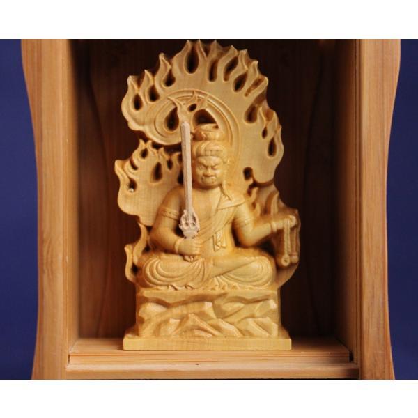 木彫仏像/竹厨子入り不動明王 仏像柘植製 tomoe3 07