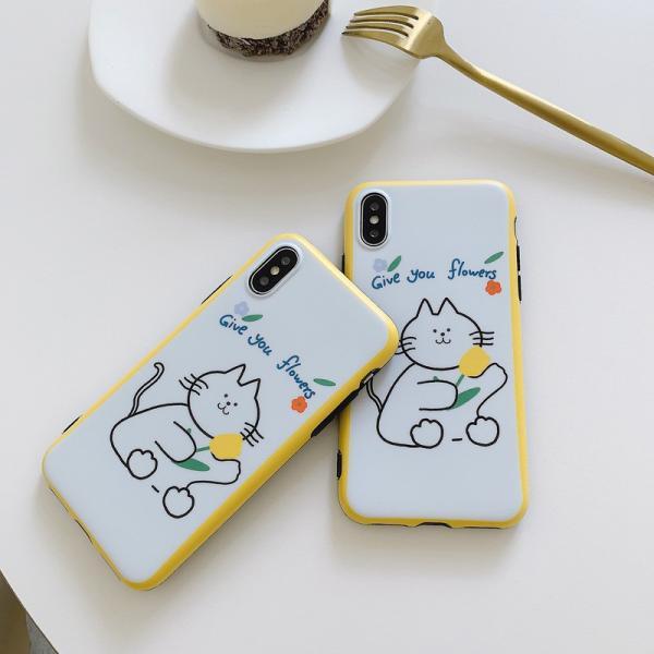 猫雑貨 バイカラー キャット イラスト 背面 iPhone11 Pro Max XR X/XS 8/7 8p/7p 6/6s 6p/6spスマホケース|tomonyanshop2