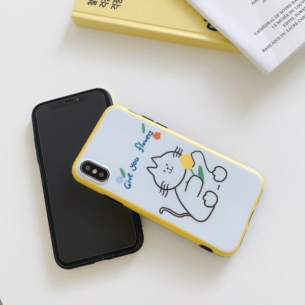 猫雑貨 バイカラー キャット イラスト 背面 iPhone11 Pro Max XR X/XS 8/7 8p/7p 6/6s 6p/6spスマホケース|tomonyanshop2|03