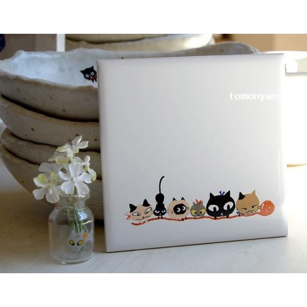 猫雑貨 猫柄 デザインタイル Shinzi Katoh シンジカトウ 選べる 3柄 DIY インテリア 3枚から購入可|tomonyanshop2|08