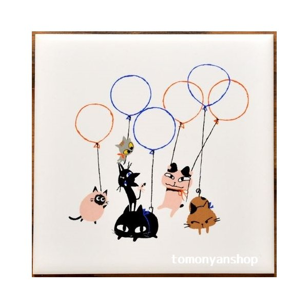 猫雑貨 猫柄 デザインタイル Shinzi Katoh シンジカトウ 選べる 3柄 DIY インテリア 3枚から購入可|tomonyanshop2|03
