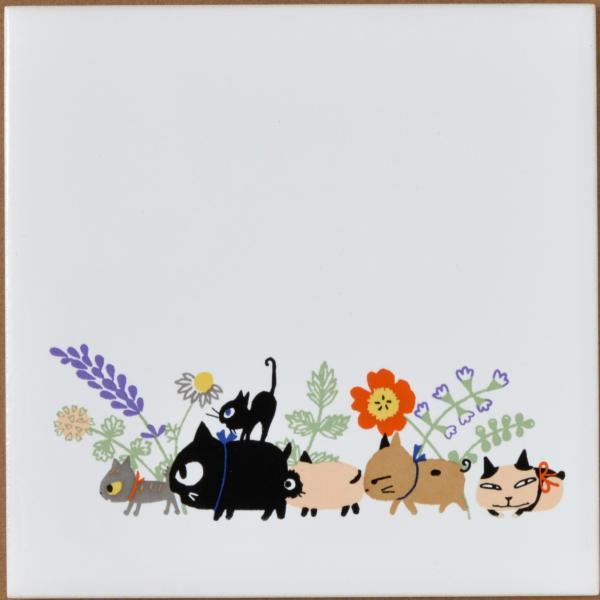 猫雑貨 猫柄 デザインタイル Shinzi Katoh シンジカトウ 選べる 3柄 DIY インテリア 3枚から購入可|tomonyanshop2|04