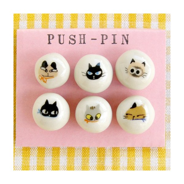 猫雑貨 アニーブンキャッツ プッシュピンセット 画鋲  SHINZI KATOH シンジカトウ|tomonyanshop2