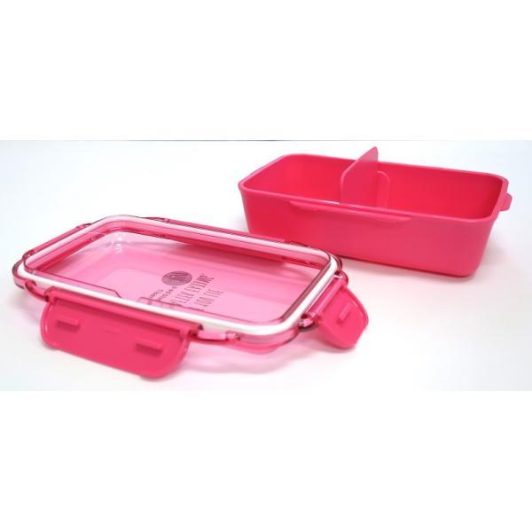 ランチボックス お弁当箱 仕切付 1段 500ml おしゃれ 女子 おしゃれ レンジ対応 食洗機対応 ピンク 日本製 OSK PCD-500 tomorrow-life 04