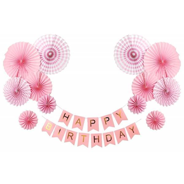 バースデー ガーランド ペーパーファン 12個 セット 誕生日 飾り パーティー ピンク|tonarinostore