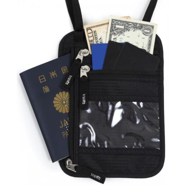 パスポートケース スキミング防止 首下げ ネックポーチ 海外旅行 便利グッズ ブラック