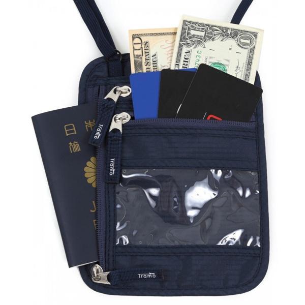 パスポートケース 首下げ スキミング防止 ネックポーチ 海外旅行 便利 貴重品入れ ネイビー