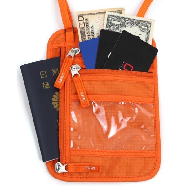 パスポートケース 首下げ ネックポーチ イベント フェス 便利グッズ スキミング防止 オレンジ 女性 子供