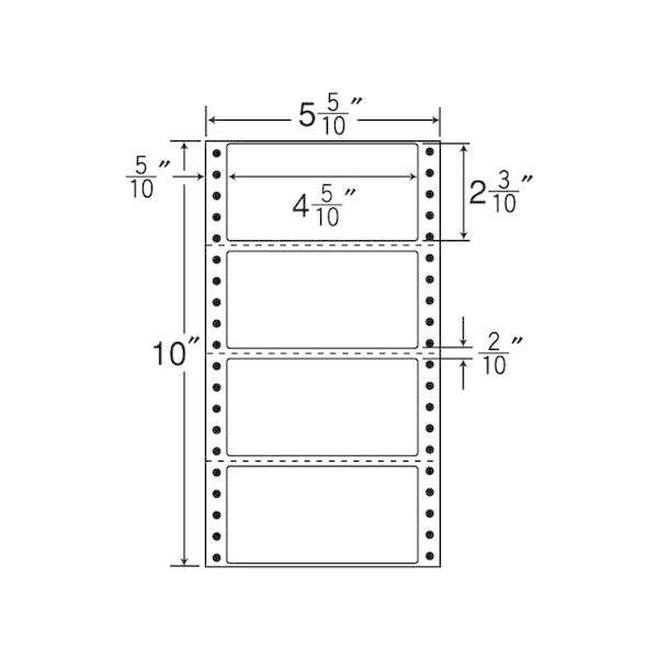 R5W ナナフォーム Rタイプ 1000折(500折×2)(4,000枚) 荷札サイズ 連続ラベル 剥離紙白 ヨコ3本ミシン入 再剥離タイプ 東洋印刷