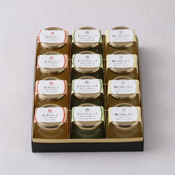 夏のフルーツゼリーセット12個入り(りんご、レモン、キウイ)北海道産/お中元 夏ギフト お取り寄せ/六美