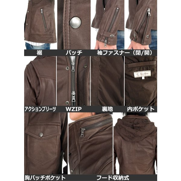 メンズレザージャケット 本革 M-65 リアルレザー 革ジャン ラム 羊革 WZIP|tool-power|03