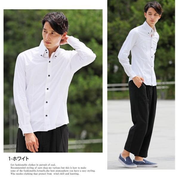 長袖シャツ メンズ シャツ ボタンダウンシャツ デュエボットー二 無地 ストライプ ブロード コットン 綿 国産 日本製 白シャツ tool-power 02