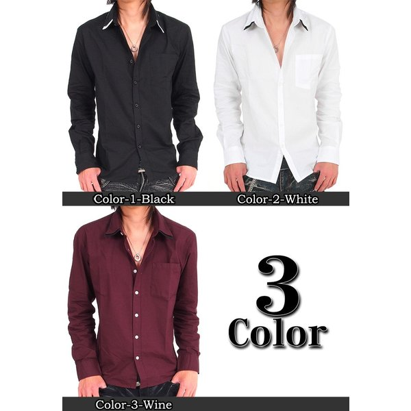 メンズ シャツ メンズ W襟 ブロード 長袖シャツ 7分袖 白シャツ ホワイト メンズシャツメンズファッション 通販|tool-power|02