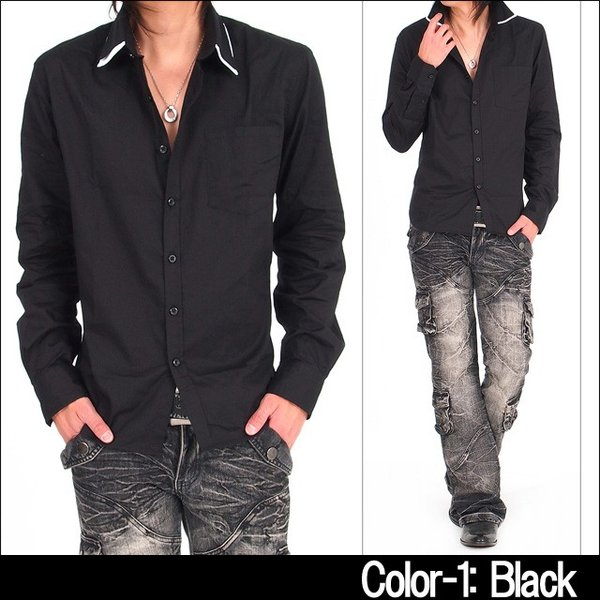 メンズ シャツ メンズ W襟 ブロード 長袖シャツ 7分袖 白シャツ ホワイト メンズシャツメンズファッション 通販|tool-power|04