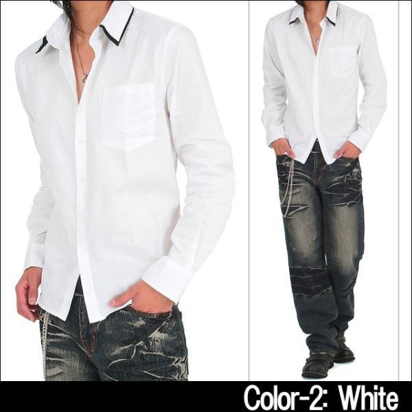 メンズ シャツ メンズ W襟 ブロード 長袖シャツ 7分袖 白シャツ ホワイト メンズシャツメンズファッション 通販|tool-power|05